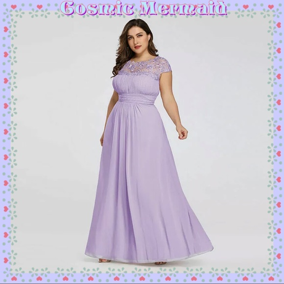 🆕💜Lavender Lace Chiffon Grecian Dress💜Plus Size
